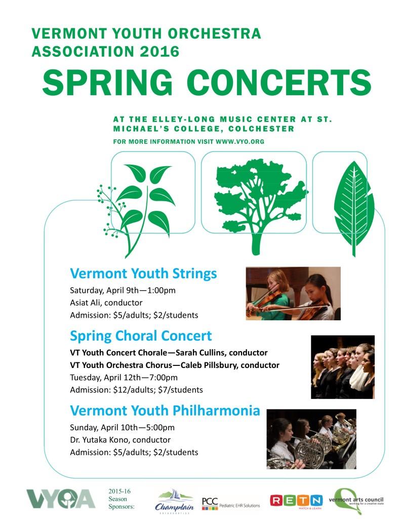 2016 Spring concerts poster